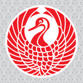 Japanese crane vector traditional symbol of the red crowned Stock Photos