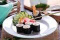 Japanese cuisine ebi roll sushi Royalty Free Stock Photo