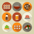 Japanese cuisine flat icon set long shadow Royalty Free Stock Image