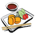 Japanese Cuisine - food sketch hand drawn Stock Photos