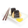 Japanese cuisine rice ball onigiri on white background Stock Image