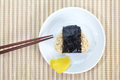 Japanese cuisine rice ball onigiri on white background Royalty Free Stock Photo