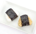 Japanese cuisine rice ball onigiri on white background Royalty Free Stock Photography