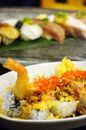 Japanese cuisine rice tempura crispy shrimp Royalty Free Stock Photo