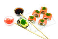 Japanese cuisine rolls on white background isolated a top view horizontal photo Stock Photography