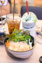 Japanese cuisine Salmon sushi don on fresh salad Royalty Free Stock Photo