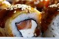 Japanese cuisine sushi rolls macro Royalty Free Stock Photo