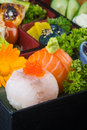 Japanese cuisine. sushi salmon on the background Royalty Free Stock Photo