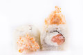 Japanese Cuisine, Sushi Set: roll with salmon, shrimp, cream cheese, tobiko caviar, Japanese mayonnaise on a white background. Royalty Free Stock Photo