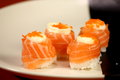 Japanese  cuisine sushi set with salmon Royalty Free Stock Photo