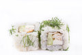 Japanese Cuisine, Sushi Set: Vegetarian roll with chicken fillet, cream cheese, cucumber, greens on a white background. Royalty Free Stock Photo