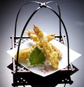 Japanese cuisine tempura shrimps deep fried shrimps with vegetables Royalty Free Stock Image