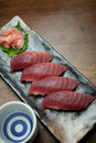 Japanese Cuisine Tuna Sushi and sake Stock Photos