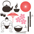 Japanese culture isolated objects on white background vector illustration eps Royalty Free Stock Photography
