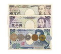 Japanese currency yen close up bank notes and coins Royalty Free Stock Photos