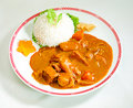 Japanese curry with rice Stock Photo