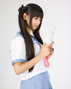 Japanese cute teen school girl Stock Image