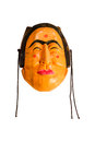 Japanese demon mask on white background with clipping path. Royalty Free Stock Photo