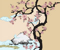 Japanese design with Fuji mountain and Sakua Tree. Stock Image