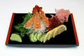 Japanese dish of shrimp fried on the black plate Royalty Free Stock Photo