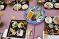 Japanese dishes after dinner Royalty Free Stock Photo