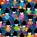 Japanese doll circle line wave seamless pattern Royalty Free Stock Photo