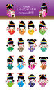 Japanese doll girl Harajuku Maneki Neko set Royalty Free Stock Photo