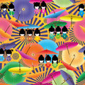 Japanese doll girl umbrella seamless pattern Royalty Free Stock Photo