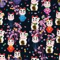 Japanese doll wear Maneki Neko seamless pattern Royalty Free Stock Photo