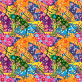 Japanese fan curve owl seamless pattern Royalty Free Stock Photo