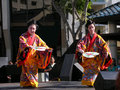 Japanese fan dancing women with kimono beautiful traditional dance two girls in performing the cultural heritage Stock Images