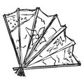 Japanese fan hand drawn sketch illustration of Royalty Free Stock Photography