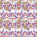 Japanese fan Maneki neko seamless pattern Royalty Free Stock Photo