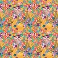Japanese fan Maneki neko seamless pattern