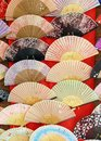 Japanese fans paper display at a market Stock Photos