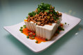 Japanese food cold Tofu with minced pork Stock Photos