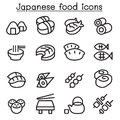 Japanese food icon set in thin line style
