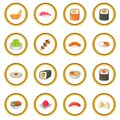 Japanese food icons circle