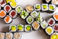 Japanese food maki platter with various of maki sushi Royalty Free Stock Photo