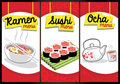 Japanese food menu vector of contain ramen sushi and ocha tea all element are separated and easy to edit Royalty Free Stock Photos