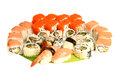 Japanese food restaurant delivery - sushi maki california gunkan roll platter big set isolated at white background Royalty Free Stock Photo