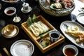 Japanese food set on the table