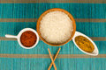 Japanese food staples rice and hot spices asian Stock Photo