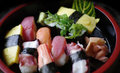 Japanese food sushi nigiri set a raw beautiful coloful meal of japan Stock Photos