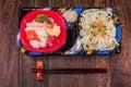 Japanese food Tekka Don and udon noodles , Japanese cuisine Royalty Free Stock Photo