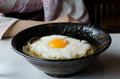 Japanese food this is a typical it is a soup with paste and eggs Royalty Free Stock Photo