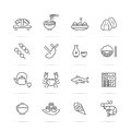 Japanese food vector line icons