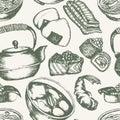 Japanese Food - vintage hand drawn seamless pattern Royalty Free Stock Photo