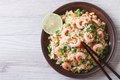 Japanese fried rice with seafood, eggs and vegetables top view Royalty Free Stock Photo
