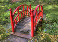 Japanese garden in autumn ittle red bridge the hague holland Royalty Free Stock Photo